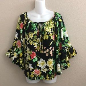 Betsey Johnson floral print wide sleeve blouse top